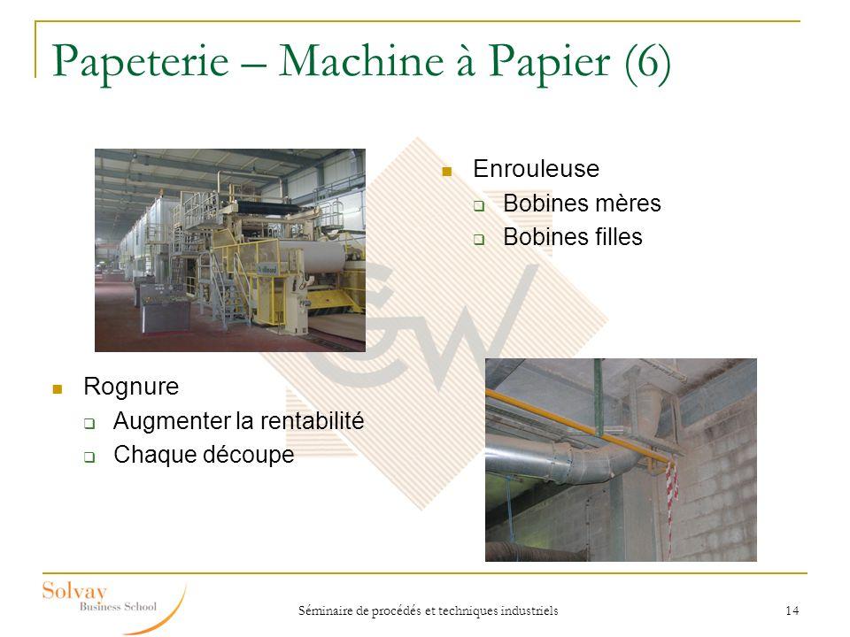 Séminaire de procédés et techniques industriels 14 Papeterie – Machine à Papier (6) Enrouleuse Bobines mères Bobines filles Rognure Augmenter la renta