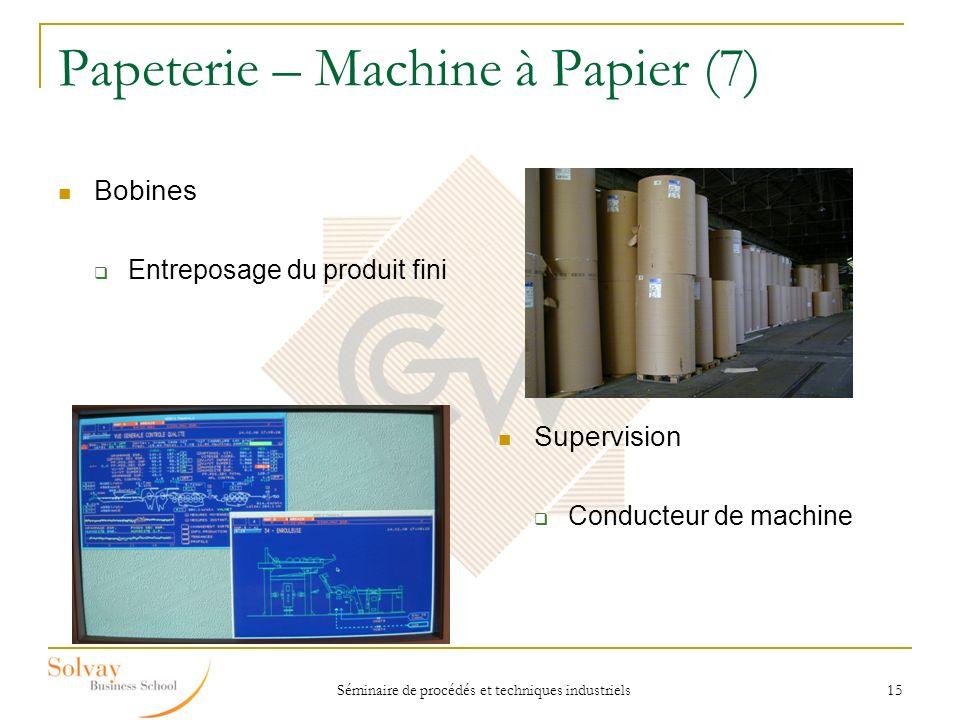 Séminaire de procédés et techniques industriels 15 Papeterie – Machine à Papier (7) Bobines Entreposage du produit fini Supervision Conducteur de mach