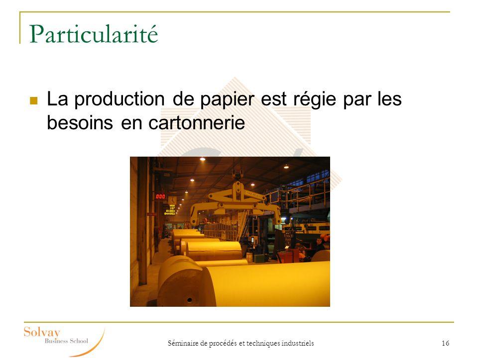 Séminaire de procédés et techniques industriels 16 Particularité La production de papier est régie par les besoins en cartonnerie