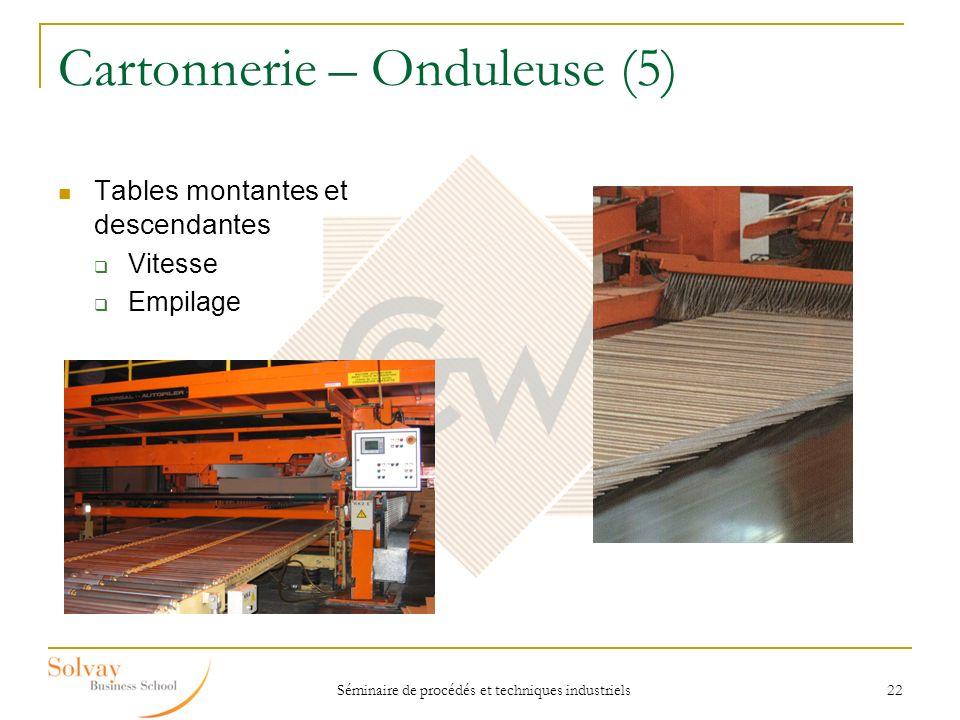 Séminaire de procédés et techniques industriels 22 Cartonnerie – Onduleuse (5) Tables montantes et descendantes Vitesse Empilage