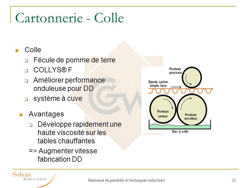 Séminaire de procédés et techniques industriels 23 Cartonnerie - Colle Colle Fécule de pomme de terre COLLYS® F Améliorer performance onduleuse pour D