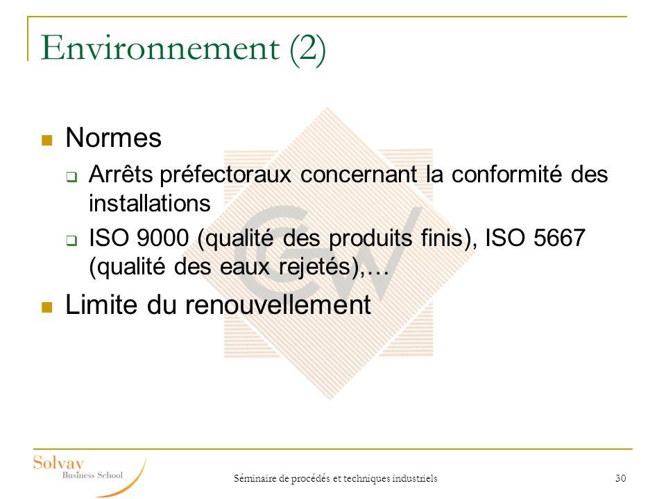 Séminaire de procédés et techniques industriels 30 Environnement (2) Normes Arrêts préfectoraux concernant la conformité des installations ISO 9000 (q