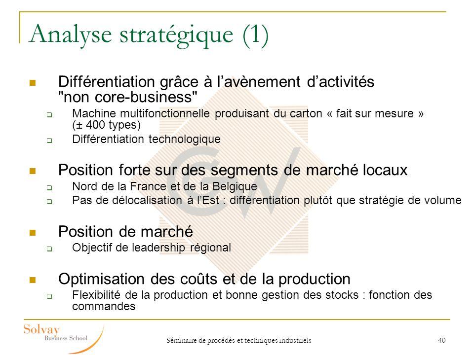 Séminaire de procédés et techniques industriels 40 Analyse stratégique (1) Différentiation grâce à lavènement dactivités