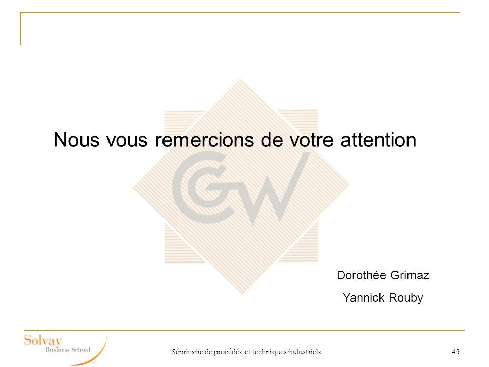 Séminaire de procédés et techniques industriels 45 Nous vous remercions de votre attention Dorothée Grimaz Yannick Rouby