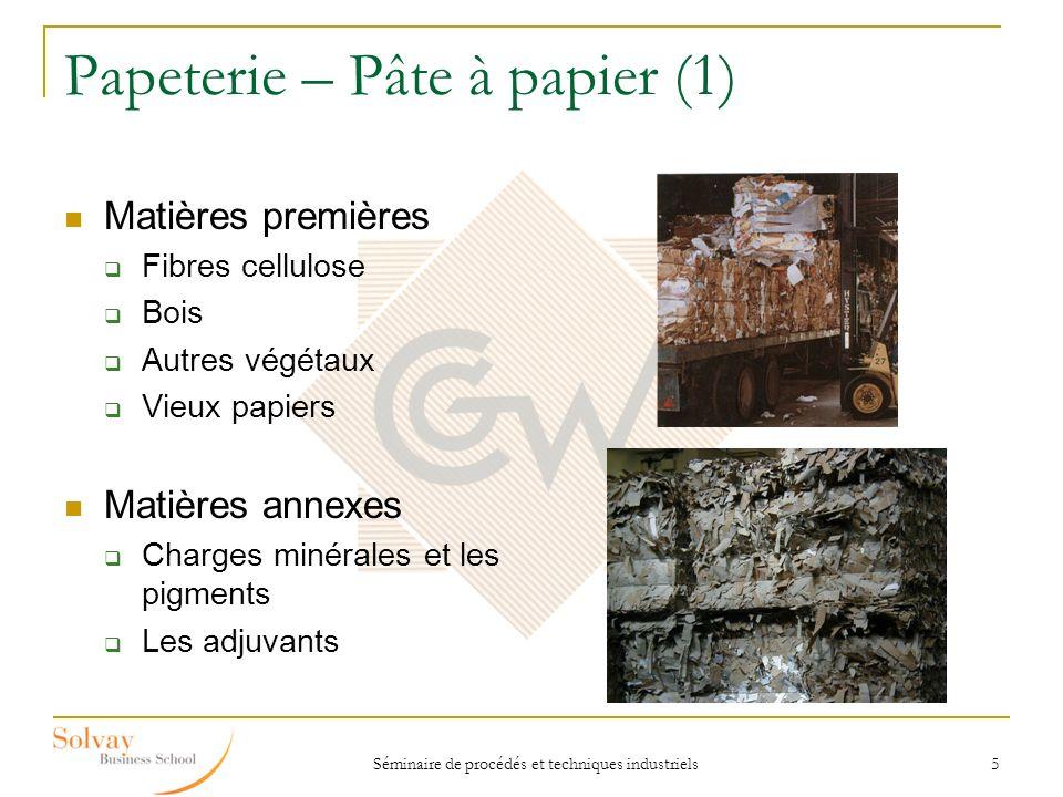 Séminaire de procédés et techniques industriels 5 Papeterie – Pâte à papier (1) Matières premières Fibres cellulose Bois Autres végétaux Vieux papiers