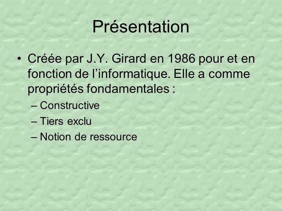 Présentation Créée par J.Y.Girard en 1986 pour et en fonction de linformatique.