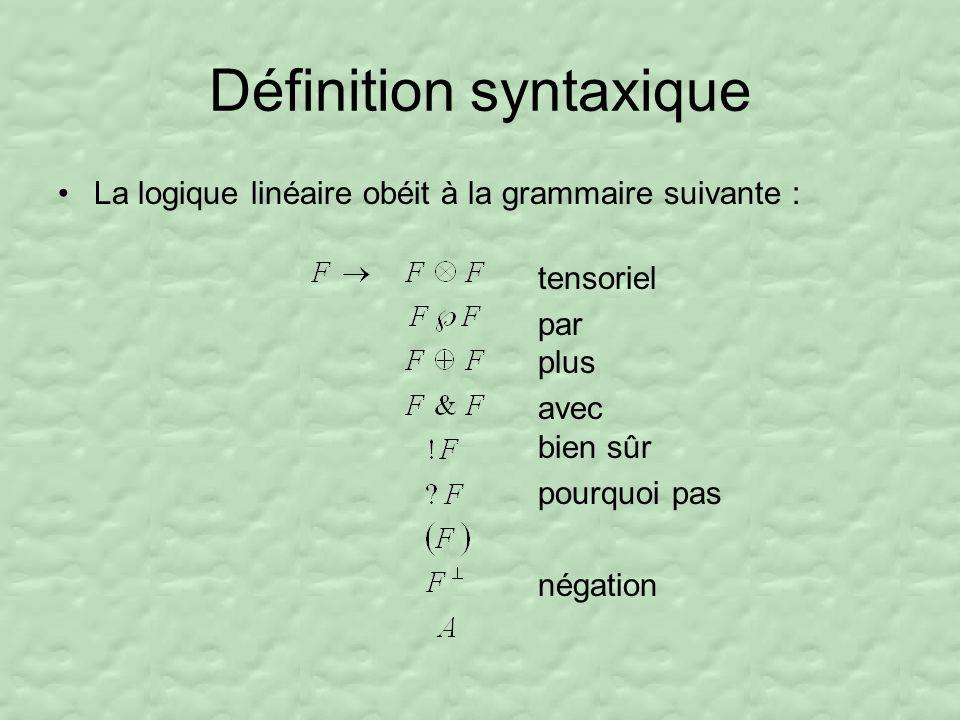 Définition syntaxique La logique linéaire obéit à la grammaire suivante : tensoriel par plus avec bien sûr pourquoi pas négation
