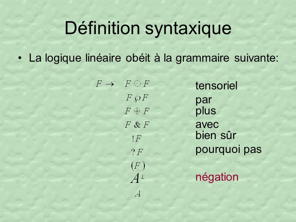 Définition syntaxique La logique linéaire obéit à la grammaire suivante: tensoriel par plus avec bien sûr pourquoi pas négation