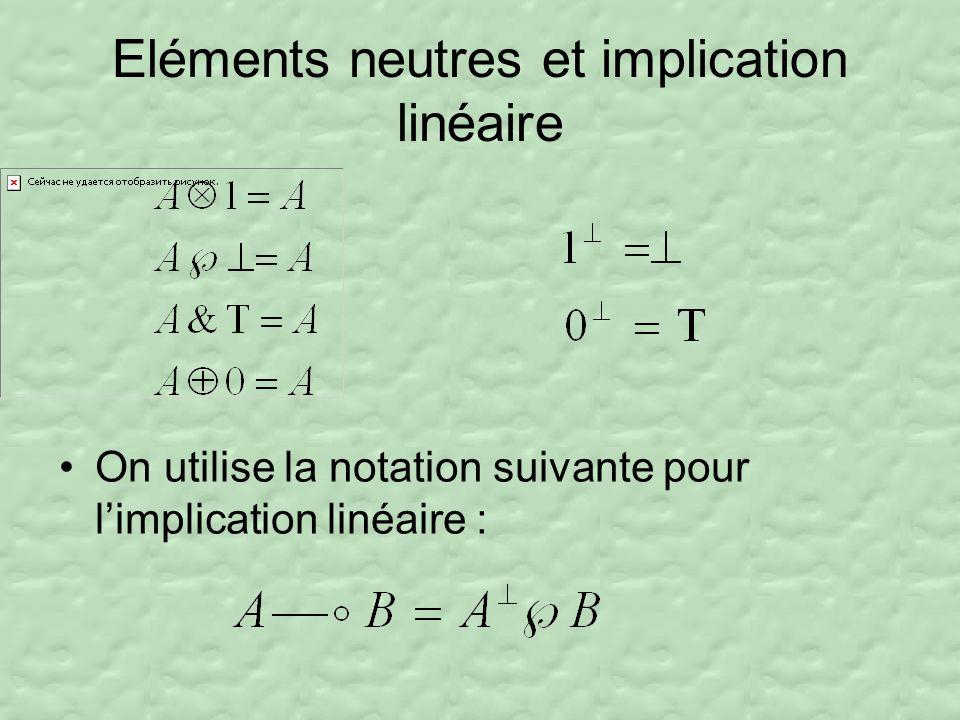 Eléments neutres et implication linéaire On utilise la notation suivante pour limplication linéaire :