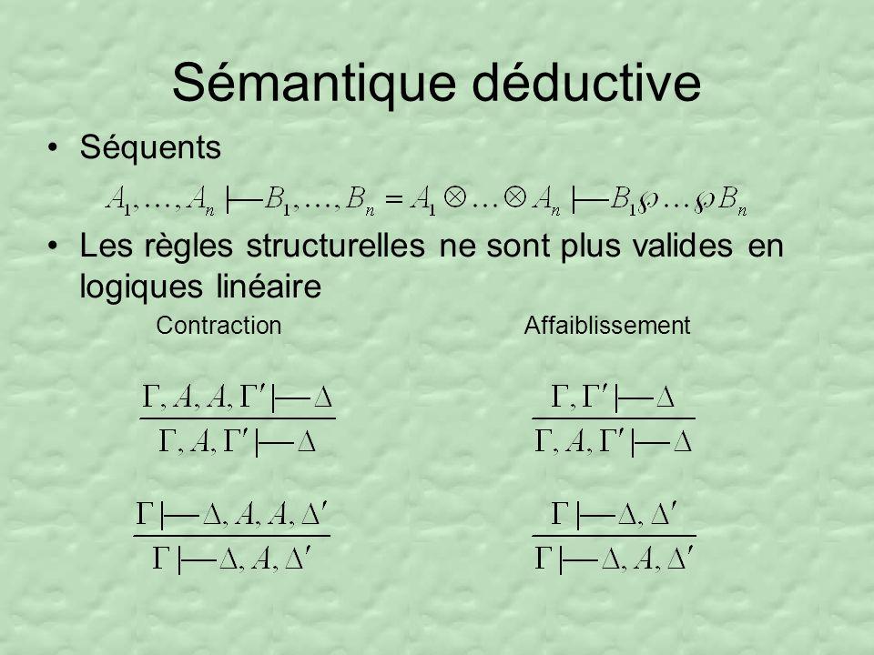 Sémantique déductive Séquents Les règles structurelles ne sont plus valides en logiques linéaire Contraction Affaiblissement