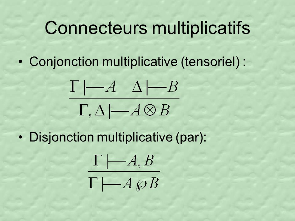 Connecteurs additifs Conjonction additive (avec) : Disjonction additive (plus) :