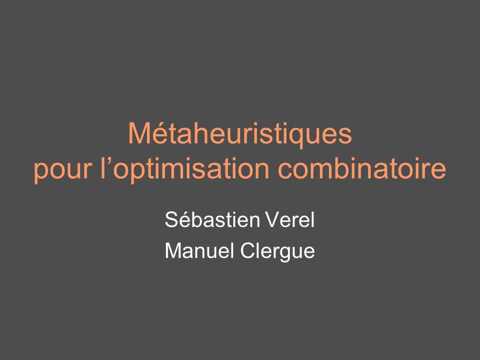 Métaheuristiques pour loptimisation combinatoire Sébastien Verel Manuel Clergue