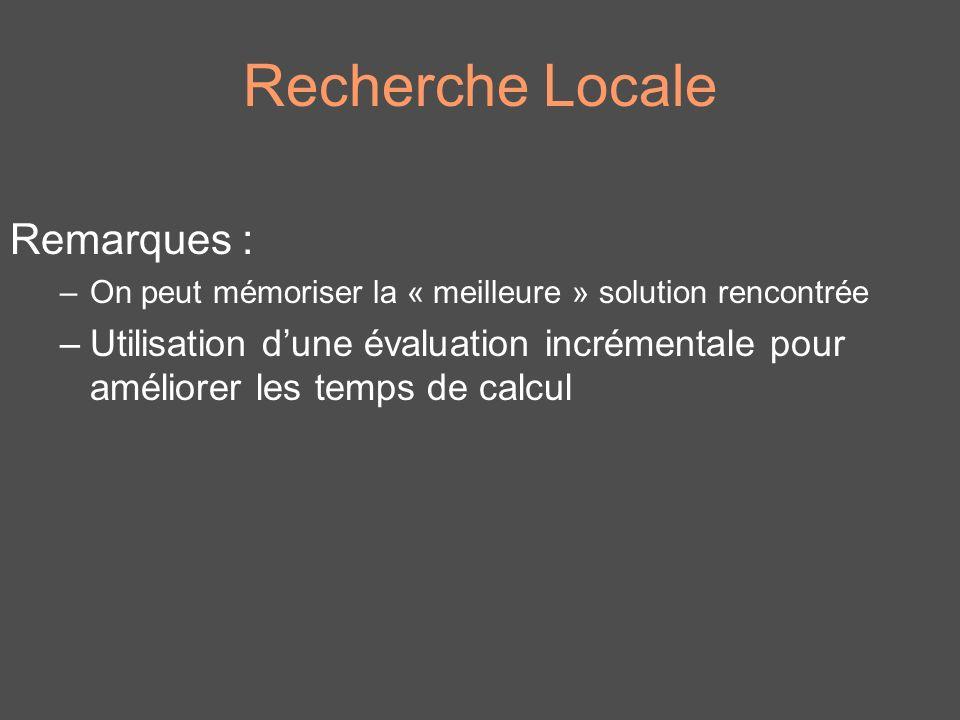 Recherche Locale Remarques : –On peut mémoriser la « meilleure » solution rencontrée –Utilisation dune évaluation incrémentale pour améliorer les temp