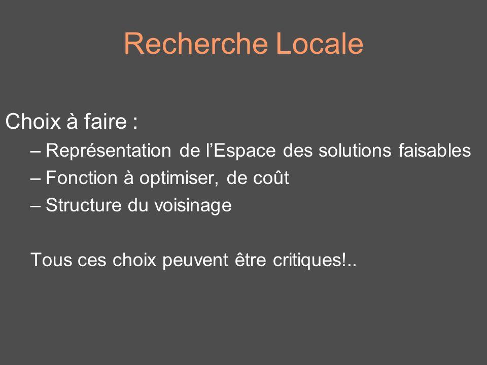 Recherche Locale Choix à faire : –Représentation de lEspace des solutions faisables –Fonction à optimiser, de coût –Structure du voisinage Tous ces ch