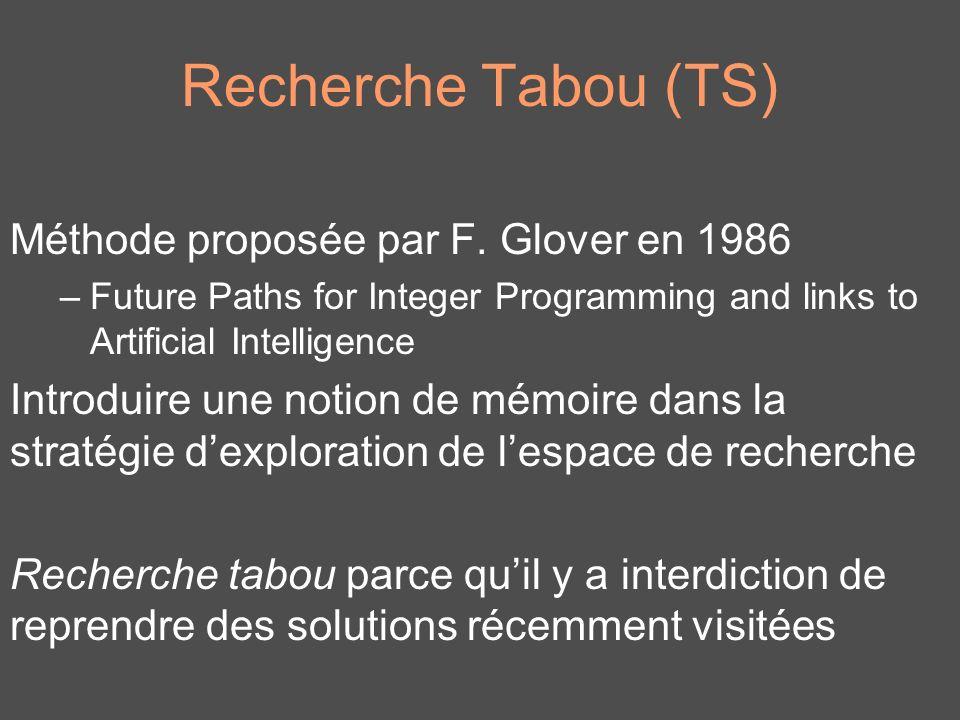 Recherche Tabou (TS) Méthode proposée par F. Glover en 1986 –Future Paths for Integer Programming and links to Artificial Intelligence Introduire une
