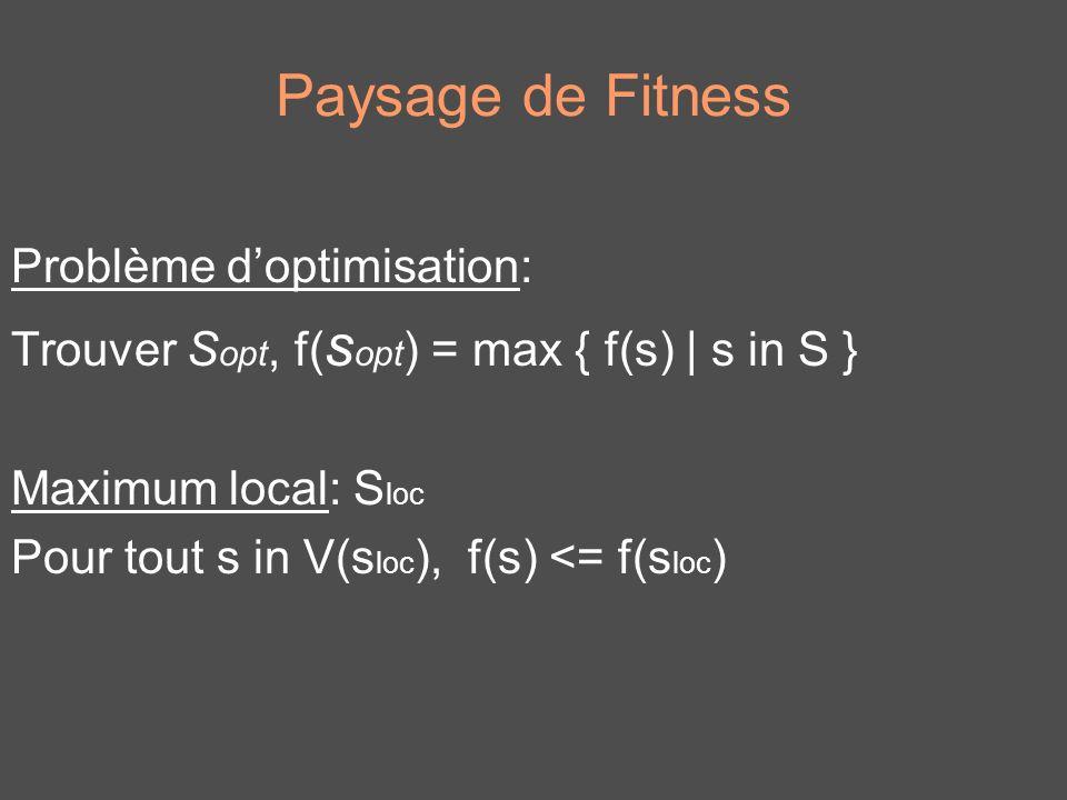 Paysage de Fitness Problème doptimisation: Trouver S opt, f( s opt ) = max { f(s) | s in S } Maximum local: S loc Pour tout s in V(s loc ), f(s) <= f(