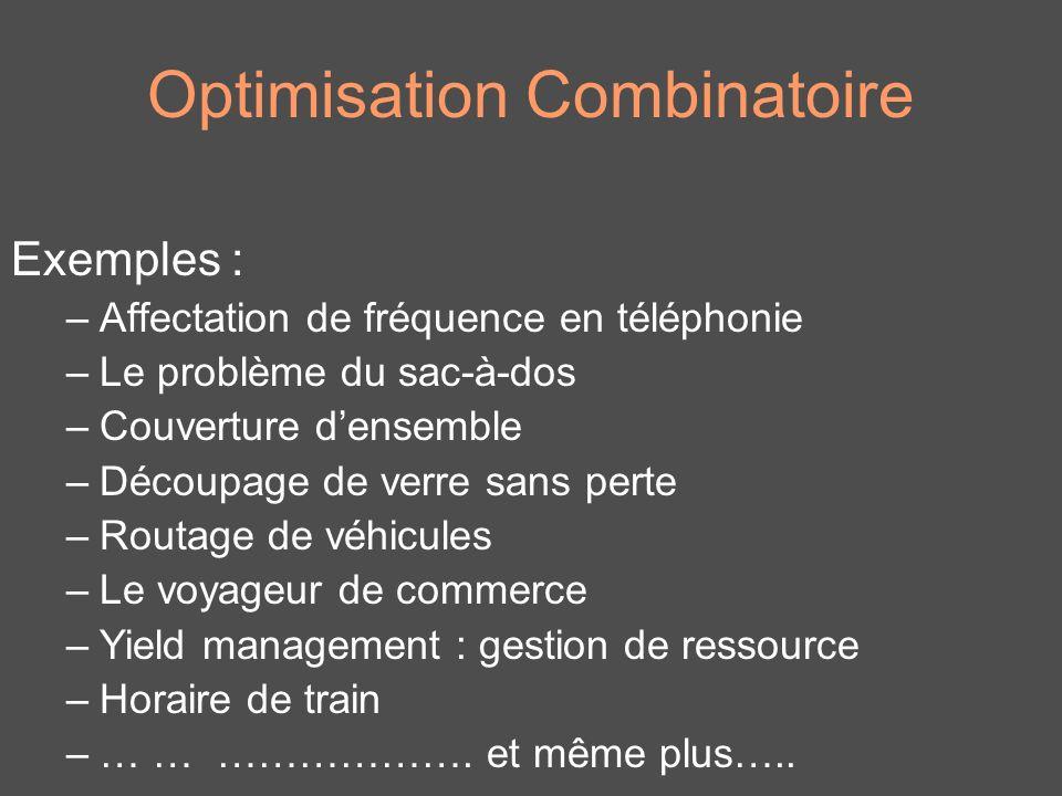 Optimisation Combinatoire Exemples : –Affectation de fréquence en téléphonie –Le problème du sac-à-dos –Couverture densemble –Découpage de verre sans