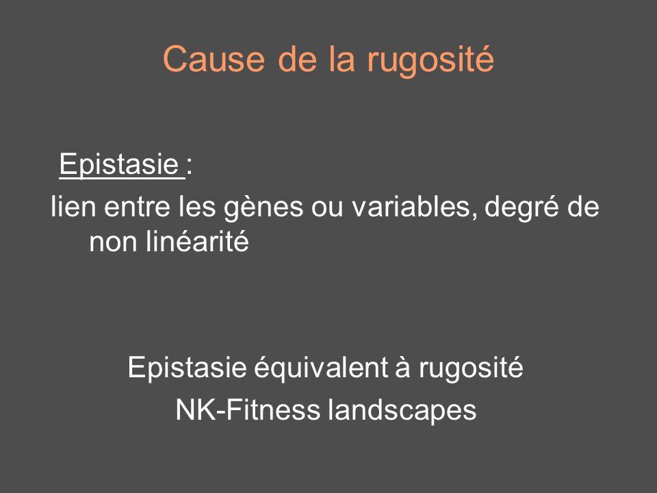 Cause de la rugosité Epistasie : lien entre les gènes ou variables, degré de non linéarité Epistasie équivalent à rugosité NK-Fitness landscapes