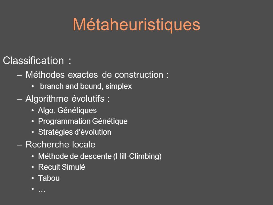 Métaheuristiques Classification : –Méthodes exactes de construction : branch and bound, simplex –Algorithme évolutifs : Algo. Génétiques Programmation