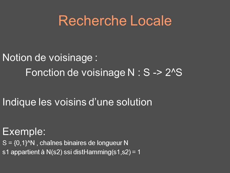 Recherche Locale Algorithme général : 1.Initialisation de s appartenant à S 2.Choisir s dans N(s) 3.Aller à létape 2 si la condition darrêt nest pas vérifiée en générale létape 2 distingue les métaheuristiques
