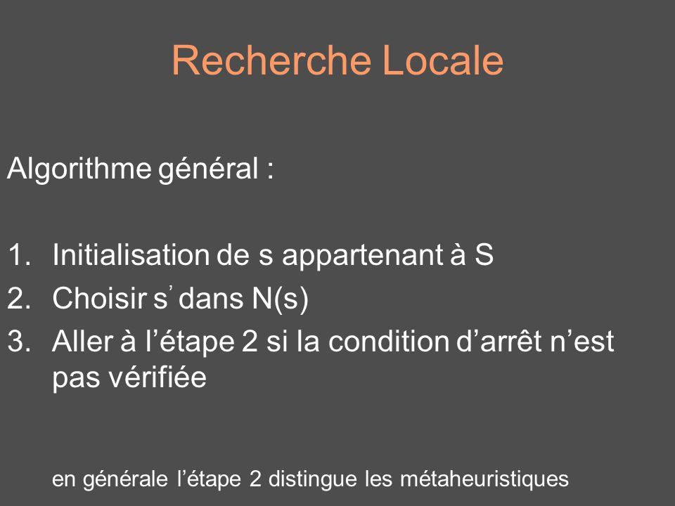 Recherche Locale Algorithme général : 1.Initialisation de s appartenant à S 2.Choisir s dans N(s) 3.Aller à létape 2 si la condition darrêt nest pas v