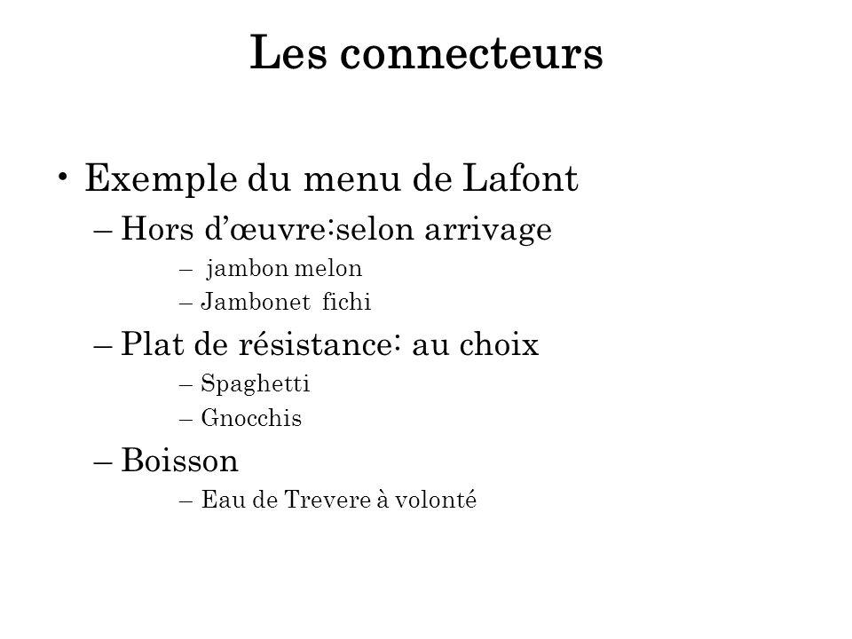 Les connecteurs Exemple du menu de Lafont –Hors dœuvre:selon arrivage – jambon melon –Jambonet fichi –Plat de résistance: au choix –Spaghetti –Gnocchi