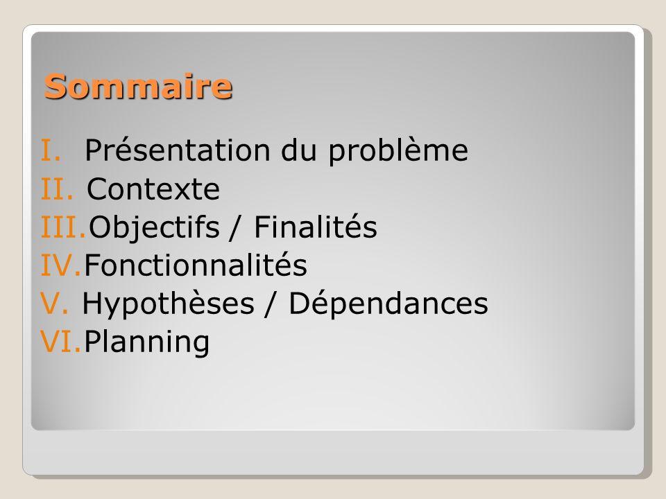 I.Présentation du problème II. Contexte III.Objectifs / Finalités IV.Fonctionnalités V.