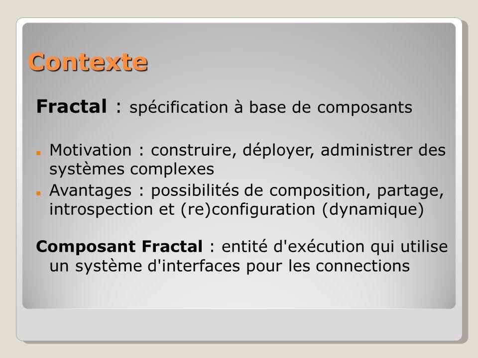 Contexte Fractal : spécification à base de composants Motivation : construire, déployer, administrer des systèmes complexes Avantages : possibilités de composition, partage, introspection et (re)configuration (dynamique) Composant Fractal : entité d exécution qui utilise un système d interfaces pour les connections