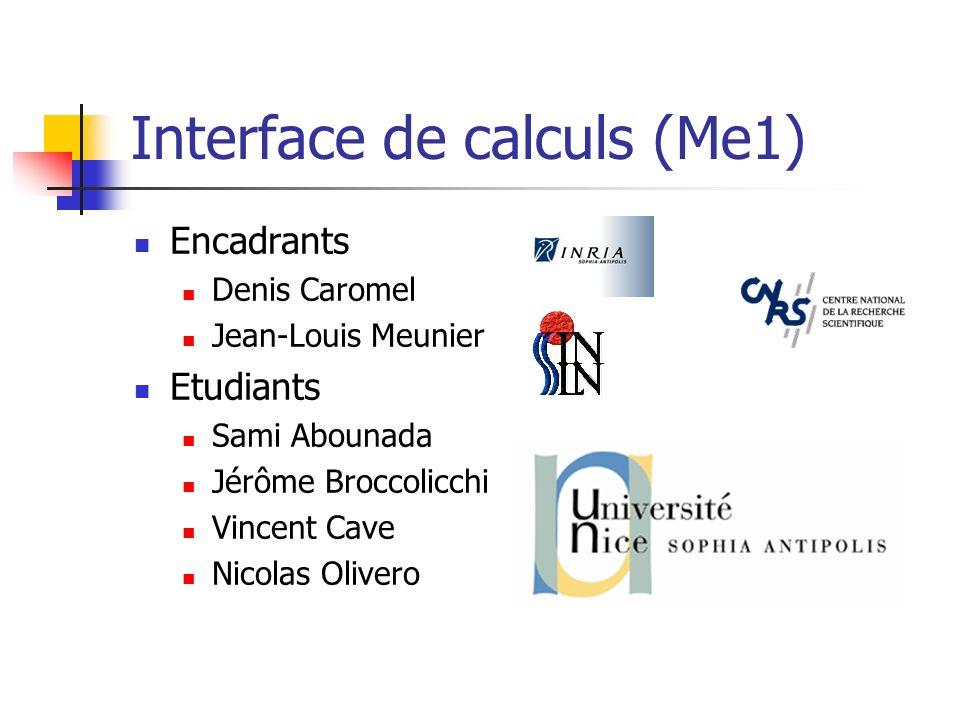 Interface de calculs (Me1) Encadrants Denis Caromel Jean-Louis Meunier Etudiants Sami Abounada Jérôme Broccolicchi Vincent Cave Nicolas Olivero