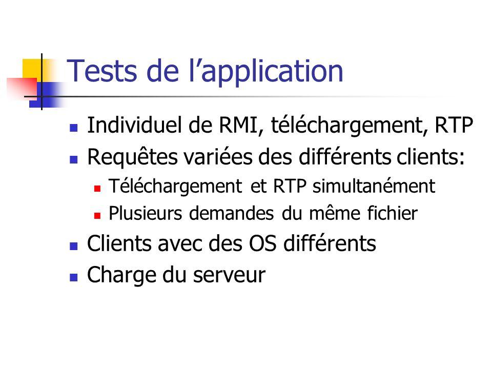 Tests de lapplication Individuel de RMI, téléchargement, RTP Requêtes variées des différents clients: Téléchargement et RTP simultanément Plusieurs de