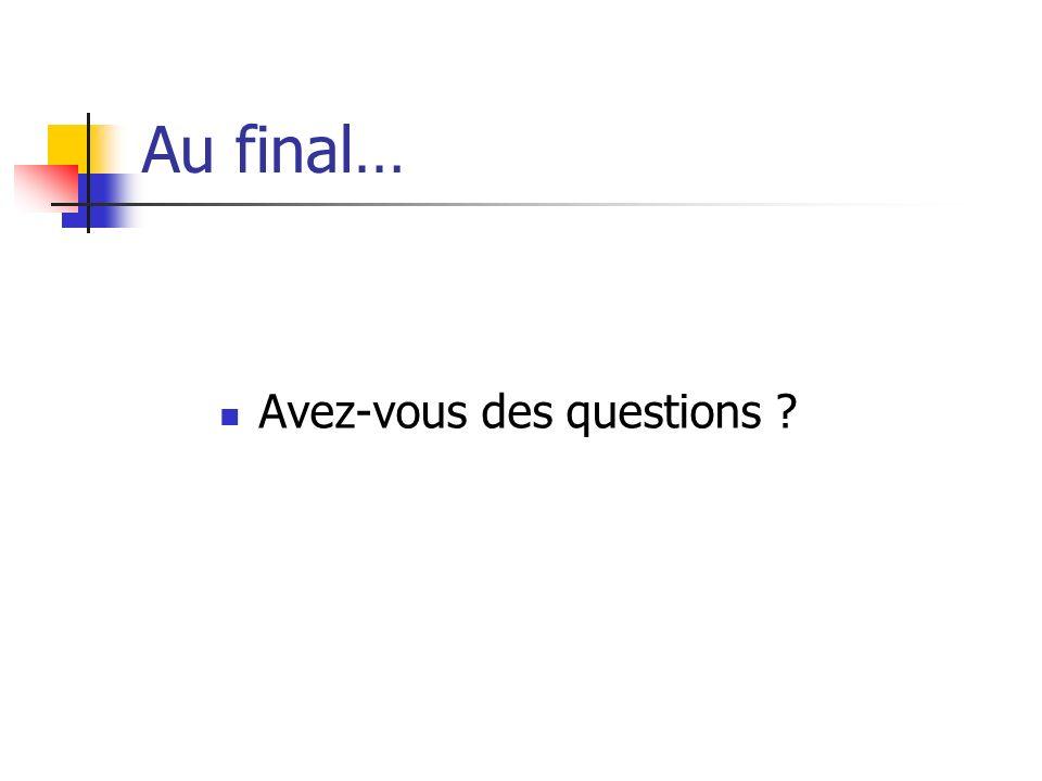 Au final… Avez-vous des questions ?