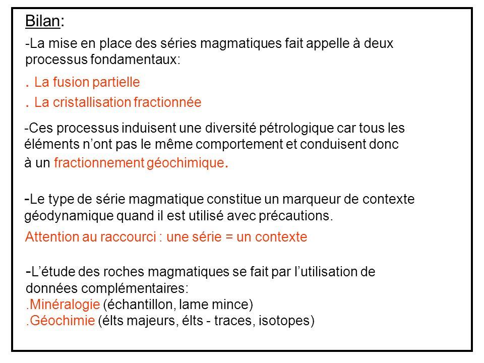 Bilan: -La mise en place des séries magmatiques fait appelle à deux processus fondamentaux:.