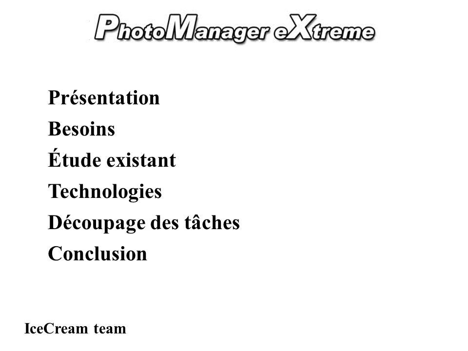 PhotoManager eXtreme Présentation IceCream team Besoins Étude existant Technologies Découpage des tâches Conclusion