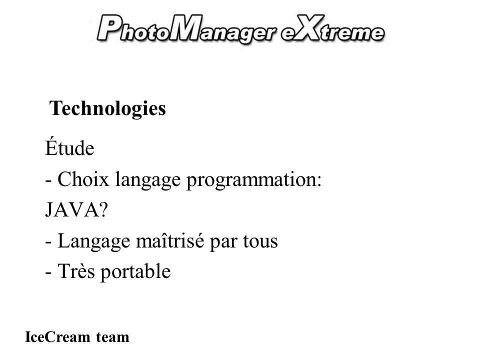 PhotoManager eXtreme Étude - Choix langage programmation: JAVA.
