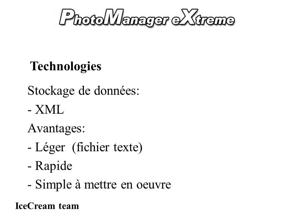 PhotoManager eXtreme Stockage de données: - XML Avantages: - Léger (fichier texte) - Rapide - Simple à mettre en oeuvre IceCream team Technologies