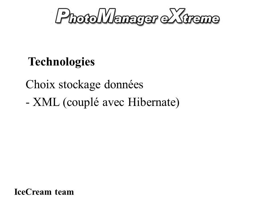 PhotoManager eXtreme Choix stockage données - XML (couplé avec Hibernate) IceCream team Technologies