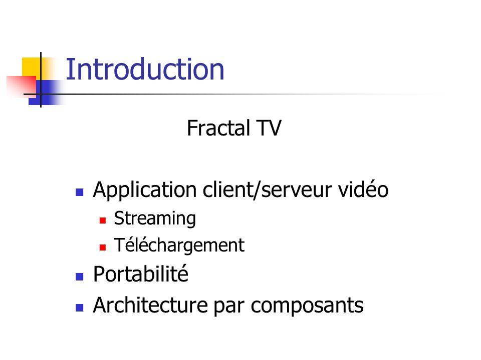 Introduction Fractal TV Application client/serveur vidéo Streaming Téléchargement Portabilité Architecture par composants