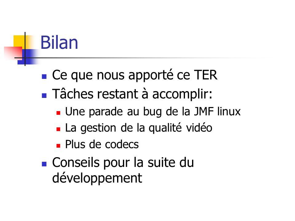 Bilan Ce que nous apporté ce TER Tâches restant à accomplir: Une parade au bug de la JMF linux La gestion de la qualité vidéo Plus de codecs Conseils pour la suite du développement