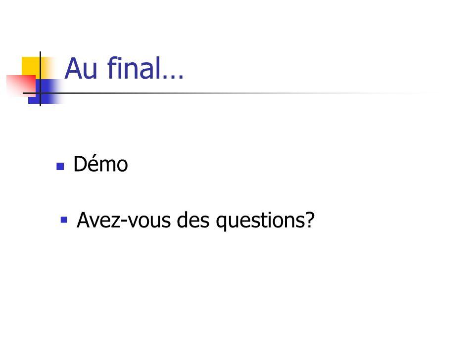 Au final… Démo Avez-vous des questions?