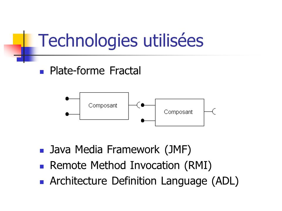 Technologies utilisées Plate-forme Fractal Java Media Framework (JMF) Remote Method Invocation (RMI) Architecture Definition Language (ADL)