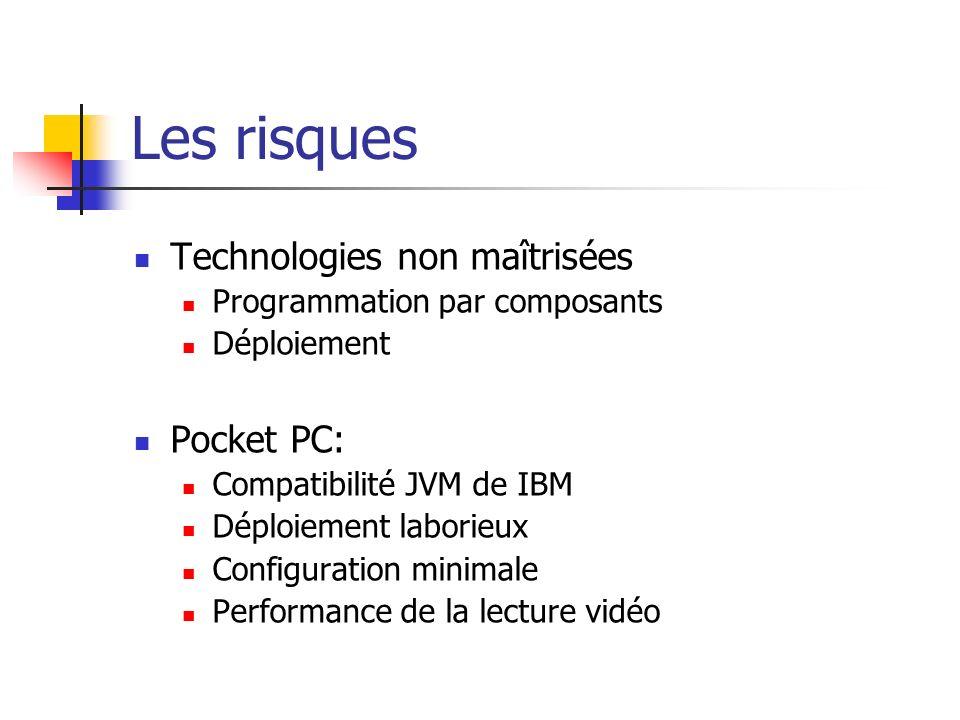 Les risques Technologies non maîtrisées Programmation par composants Déploiement Pocket PC: Compatibilité JVM de IBM Déploiement laborieux Configuration minimale Performance de la lecture vidéo