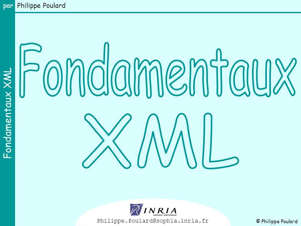Fondamentaux XML par Philippe Poulard 12 …/… Prologue XML On peut y trouver : la déclaration XML toujours sur la première ligne des instructions de traitement des commentaires une clause DTD Prologue Il est fortement recommandé de doter ses documents d une déclaration XML Rien ne doit précéder une déclaration XML (pas même des blancs), sauf, éventuellement, des caractères BOM (byte order mark) pour les documents encodés sur 16-bits.