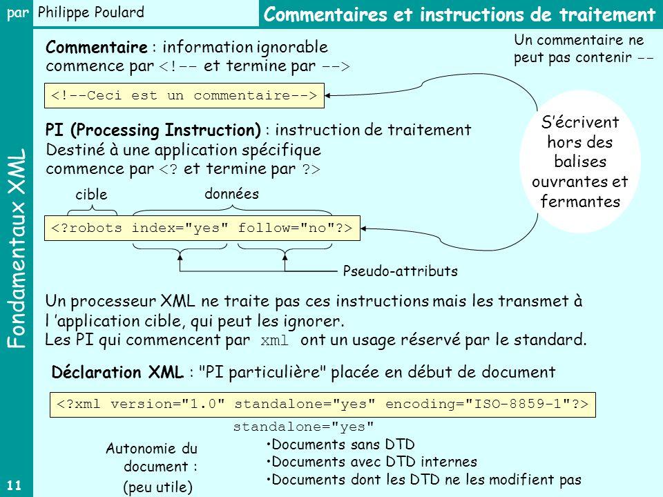 Fondamentaux XML par Philippe Poulard 11 Commentaire : information ignorable commence par PI (Processing Instruction) : instruction de traitement Destiné à une application spécifique commence par Déclaration XML : PI particulière placée en début de document Sécrivent hors des balises ouvrantes et fermantes Commentaires et instructions de traitement standalone= yes Documents sans DTD Documents avec DTD internes Documents dont les DTD ne les modifient pas Autonomie du document : Un processeur XML ne traite pas ces instructions mais les transmet à l application cible, qui peut les ignorer.