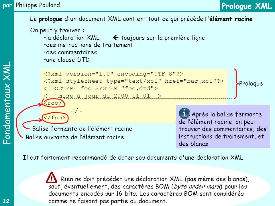 Fondamentaux XML par Philippe Poulard 12 …/… Prologue XML On peut y trouver : la déclaration XML toujours sur la première ligne des instructions de tr