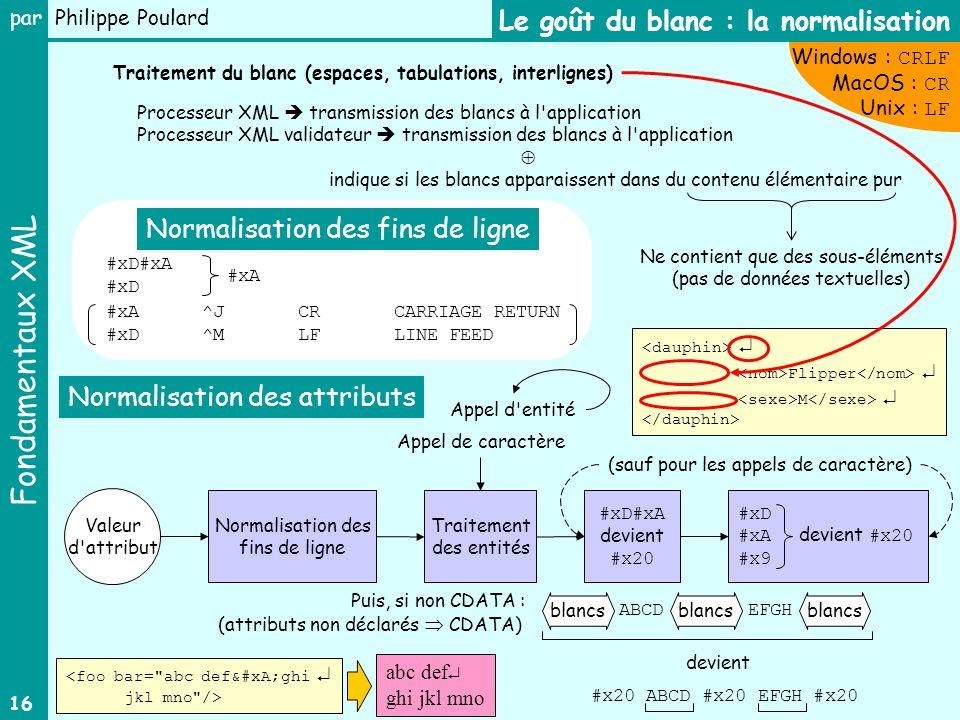 Fondamentaux XML par Philippe Poulard 16 Le goût du blanc : la normalisation Traitement du blanc (espaces, tabulations, interlignes) Processeur XML tr