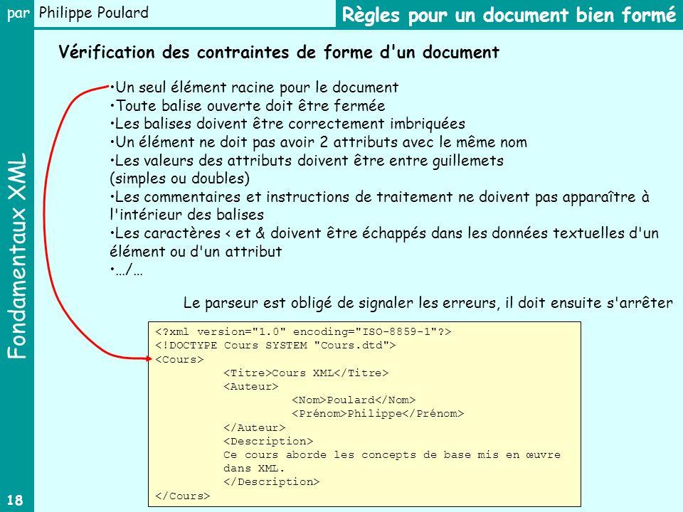 Fondamentaux XML par Philippe Poulard 18 Règles pour un document bien formé Un seul élément racine pour le document Toute balise ouverte doit être fer