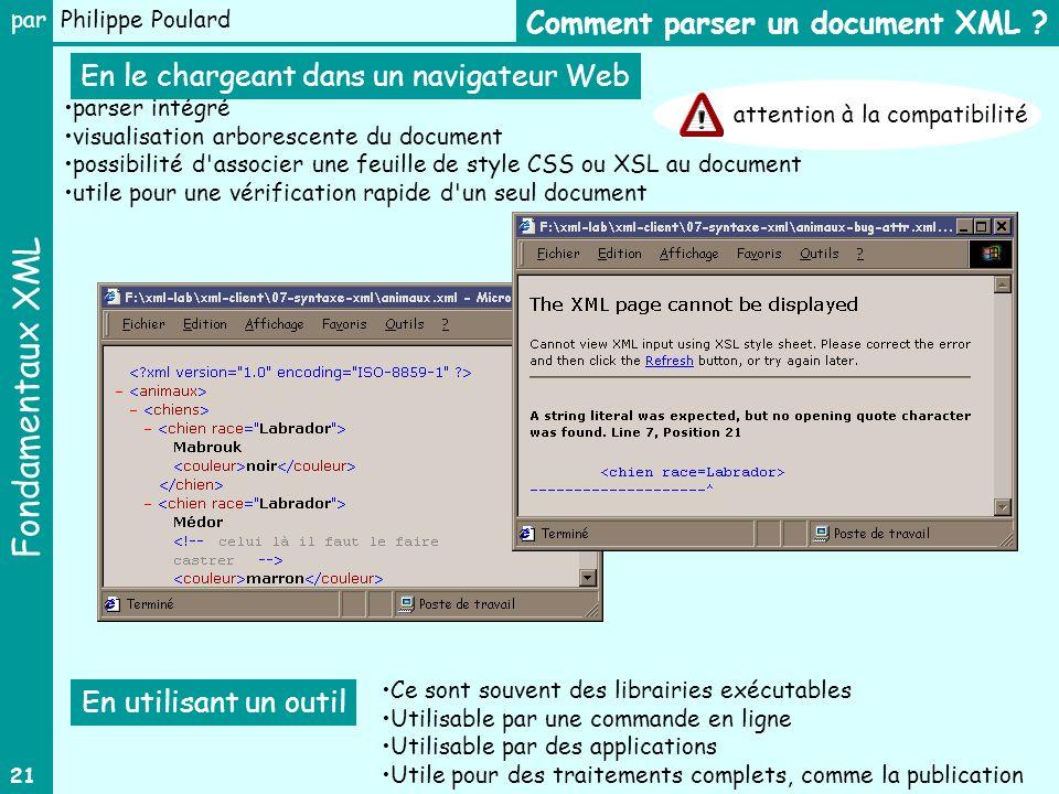 Fondamentaux XML par Philippe Poulard 21 Comment parser un document XML ? parser intégré visualisation arborescente du document possibilité d'associer