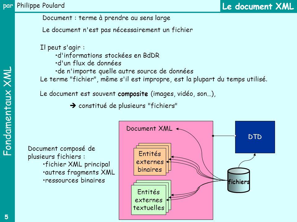 Fondamentaux XML par Philippe Poulard 5 Entités externes binaires Document XML Entités externes textuelles Le document XML Il peut s agir : d informations stockées en BdDR d un flux de données de n importe quelle autre source de données Le terme fichier , même s il est impropre, est la plupart du temps utilisé.