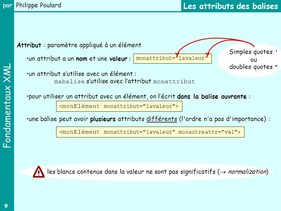 Fondamentaux XML par Philippe Poulard 9 un attribut a un nom et une valeur : un attribut sutilise avec un élément : mabalise sutilise avec lattribut m