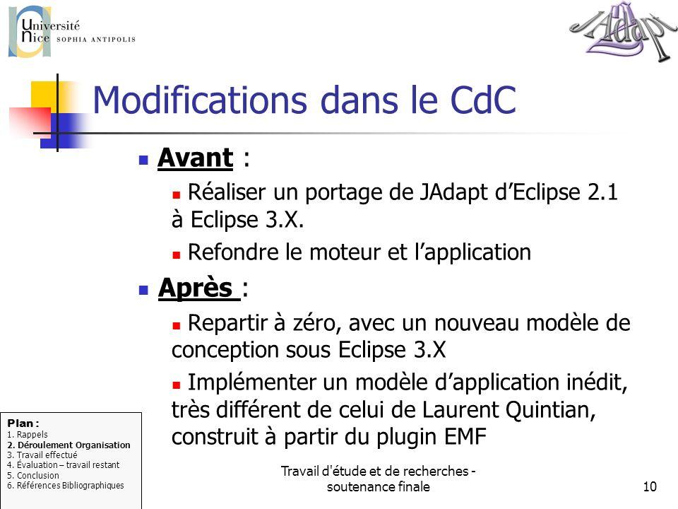 Travail d'étude et de recherches - soutenance finale10 Modifications dans le CdC Avant : Réaliser un portage de JAdapt dEclipse 2.1 à Eclipse 3.X. Ref